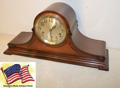 Fully Restored Seth Thomas Mahogany & Burl Antique Chime Clock No. 99-1928