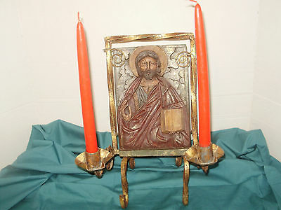 Antique Spanish Revival Religious  Iron Hand Forged Candle Holder Picture Wood C