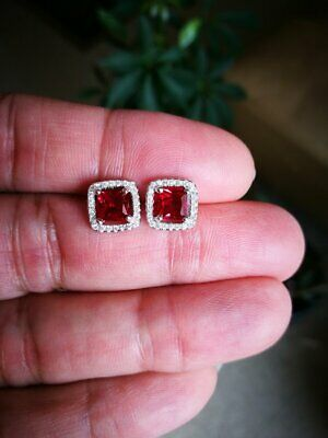 2ct Red Ruby Screw Back 14K White Gold Over Halo Squer Cut Stud Earring