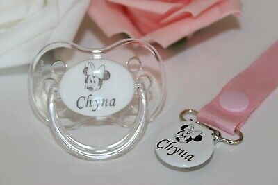Personalised Dummy Avent Dummy And Dummy Clip *can Be Sterilised* Minnie Mouse