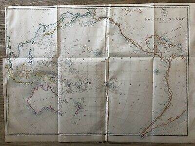 1861 Pacific Ocean Large Hand Coloured Map From Weekly Dispatch