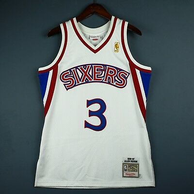 100b60b6c5f 100% Authentic Allen Iverson Mitchell & Ness 96 97 Sixers NBA Jersey Size  ...