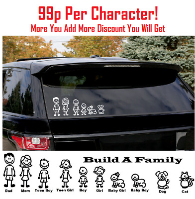 MY CAR STICK FAMILY Car Window Vinyl Decal Stickers Plus Included