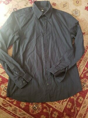 1f3d1b6047c0 H&M Easy Iron Men's Dress Shirt Size Large black Button Up Long Sleeve