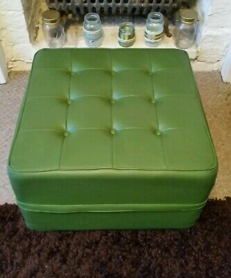 Vintage green vinyl foot stool pouffe 60s 70s retro deep button midcentury style
