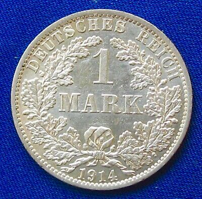 1914 -A GERMAN EMPIRE 1 MARK .900 Silver