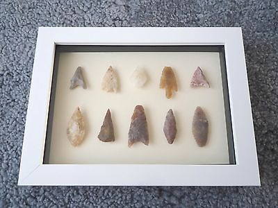 Neolithic Arrowheads in 3D Picture Frame, Authentic Artifacts 4000BC (0173)