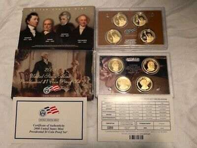 2008 U.S. Mint Presidential 1$ Dollar Coin Proof Set Complete With Box & COA