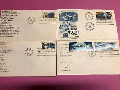 First Day Of Issue Stamps NASA 1969 1975 Moon Soyez Pioneer Mariner 10