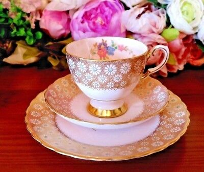 Tuscan China Pink with Bands of Gilt & Daisy Floral Design Vintage Tea Set Trio