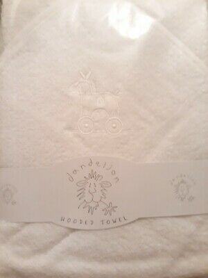 White Hooded Baby Towel with Rocking Horse Design.