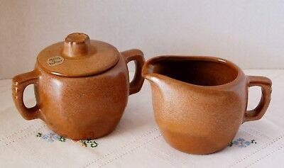 Frankoma Brown Creamer and Sugar Bowl with Lid, Excellent Condition
