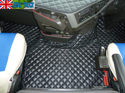 Truck Eco Leather Floor Mats Set Fit Volvo Fh 4 2013+ [ Twin Air Seats ] -Black