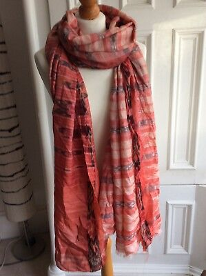 Large Piece Of Pure Silk Ikat Indian Fabric Craft Scarf Orange Peach With Defect