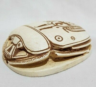 Ancient Egyptian Antiques Scarab Carved Beetle White Carved Stone 1456-1256 BC
