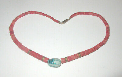 Antique Salmon-Coral Necklace undyed one  carved turquoise Scarab Morocco-Nomade