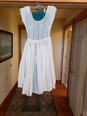 Vintage Lanz Originals Green Dress w/ White Ivory Lace Eyelet Cover Up