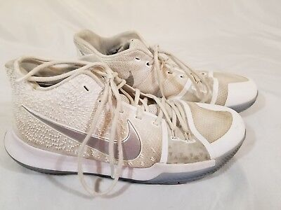 d3029b291cdd Nike Kyrie 3 III Triple White Chrome Ice Mens Basketball Shoes Sz 13  852395-103