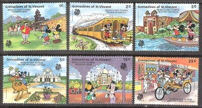 St Vincent Grenadines 1989 Disney Characters and India Sites MNH (SC# 623-628)