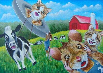 ACEO Original Miniature Painting Cat Mouse Cow Barn Whimsical Fun Cartoon Art