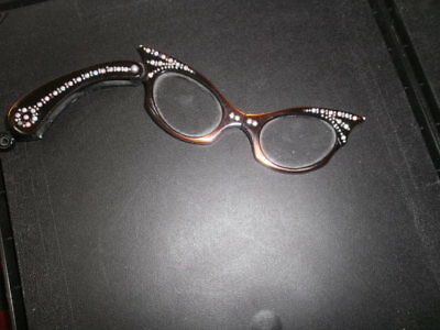 Ladies OPERA EYEGLASSES Antique AB RS Amber Colored Cat Eye Silver Stars Vintage