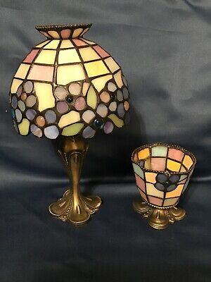 Partylite Hydrangea Tiffany Style Stained Glass Tea Light Candle