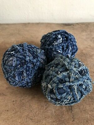 BEST Set Of 3 Early Antique Handmade Indigo Blue CALICO Rag balls Ragballs AAFA