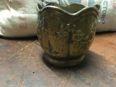 Antique Victorian Era Cast Brass planter Floral Vine Motif