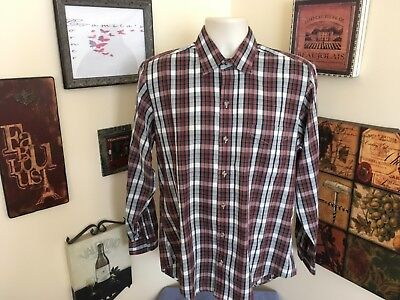 d5e23e03bbab78 Lord & Taylor Red White & Black Plaid Long Sleeve Button Front Shirt ...