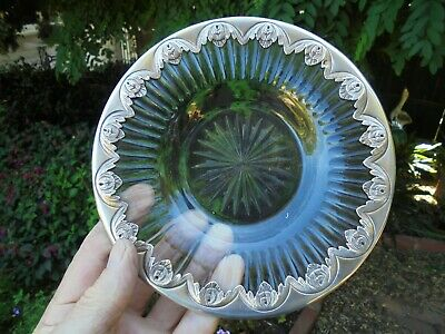 ANTIQUE SILVER MOUNTED EDWARDIAN GLASS DISH c1910