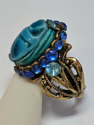 Vintage Exotic Bohemian Nouveau Style Faience Scarab Ring Big Artist Made Sz10