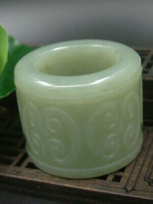 Antiques Chinese Celadon Nephrite HE TIAN Jade Hand carved Statue RINGS RU YI