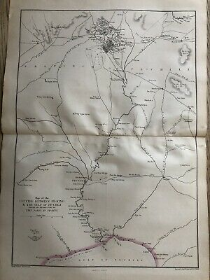1861 Peking Gulf Of Pe-Chili China Hand Coloured Map From Weekly Dispatch