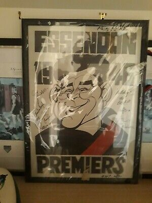 1946 Essendon Weg Poster signed by 7 essendon players to wear #7 Ltd Ed 4/7