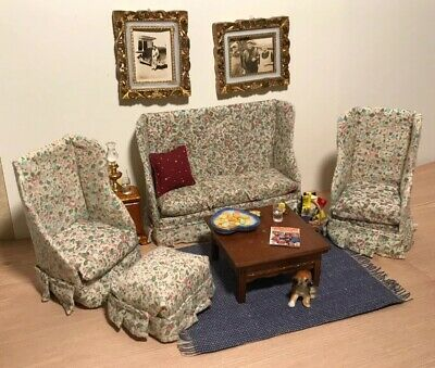 Excellent Vtg Dollhouse Miniature Living Room Lot Sofa Chairs Set Machost Co Dining Chair Design Ideas Machostcouk