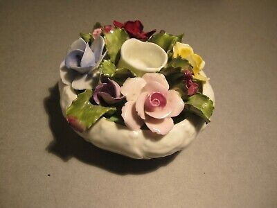 Vintage Aynsley Hand Painted Porcelain Candle Holder With Flowers