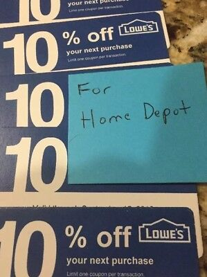 Newest Lowe's 10% Off (For Home Depot Only)Qty 5 Exp.May15,2019