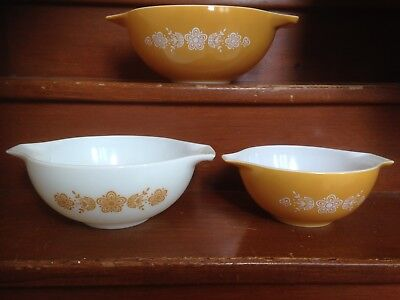 Vintage Pyrex Cinderella Mixing Bowls X3 'Butterfly Gold' Mustard