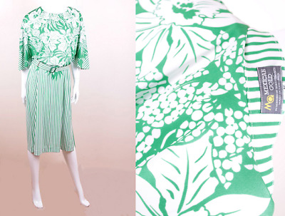 Vintage Green / White Tropical Palm Print / Stripe Loose Fitting Pullover Dress