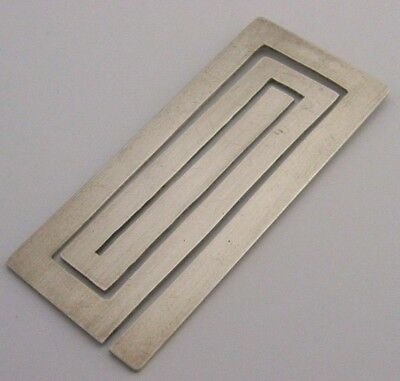 English Modernist Solid Silver Novelty Bookmark London 1977 Unusual