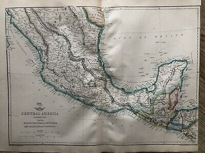 1861 Central America Original Antique Hand Coloured Map From Weekly Dispatch