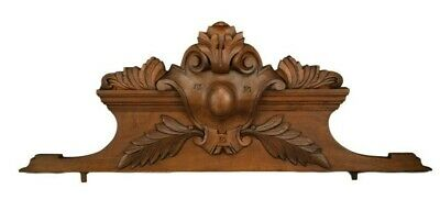French Antique Walnut Carved Wood Pediment Furniture Ornament Fronton Cornice