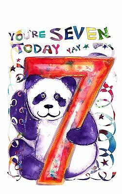 Birthday Card Seven Panda Cute 7 Years Boy Girl Child Kids Kid Children Pandas
