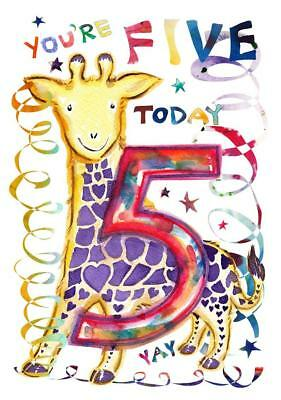Fifth Birthday Card Five Giraffe 5 Year Old Girl Child Kids Kid Daughter Boy Son