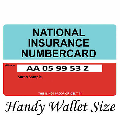National Insurance Number Card | Free P&P