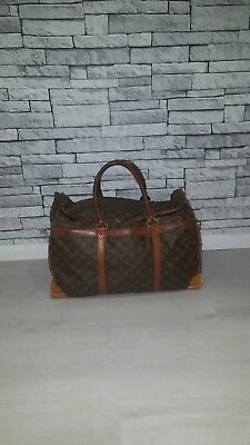 Vintage VTG 1960's 60's Brown Louis Vuitton LV Monogram Zip Large Square Holdall