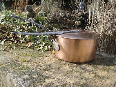 Antique French Solid Copper Sauce Pan tin lined, cast iron handle C L + Lid