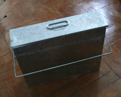 Galvanised Metal Hot Ash Tidy Box Carrier Bucket Fireplace