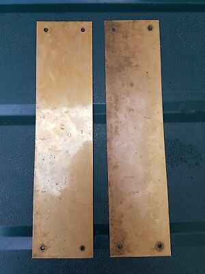Antique Vintage Brass Push Finger Door Kick Plates pair Architectural Salvaged