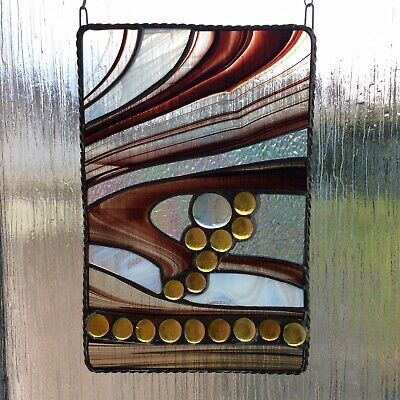 Hand Made Abstract Stained Glass Suncatcher